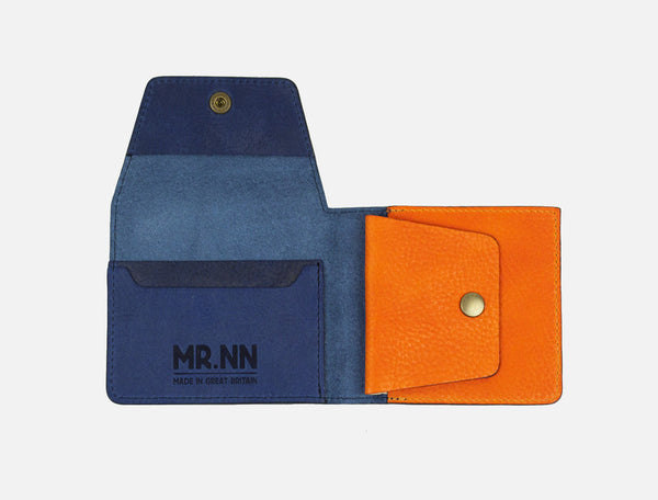 The Pocket Wallet - Blue Orange Leather