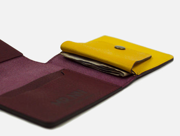 The Pocket Wallet - Maroon Yellow Leather