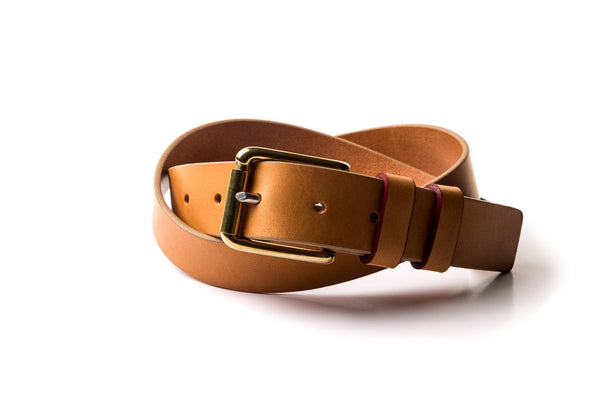The Flat End Belt - Natural Leather