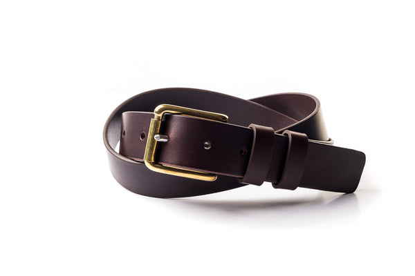 The Flat End Belt - Brown Leather
