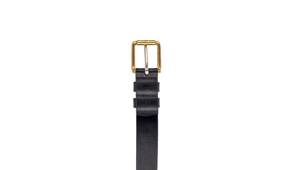 The Flat End Belt - Black Leather
