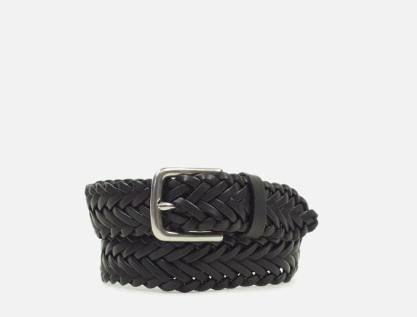 The Plaited Leather Belt - Black