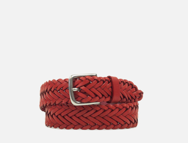The Plaited Leather Belt - Red