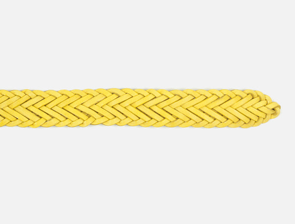 The Plaited Leather Belt - Yellow