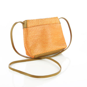 Bags by Marla Vintage Orange Woven Purse Thin Leather Shoulder Strap - Six 3 Shop