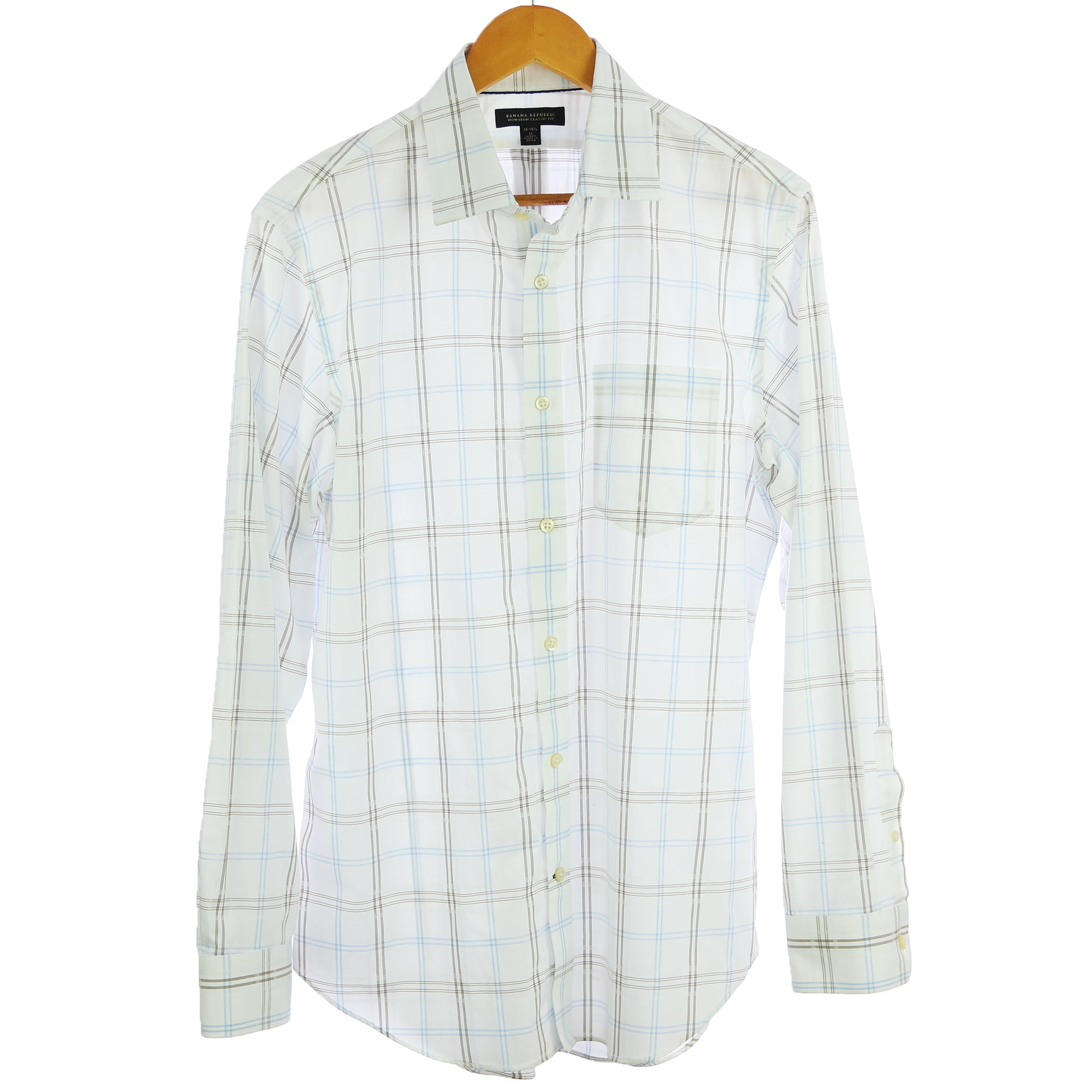 Banana Republic Medium White Plaid Shirt - Six 3 Shop