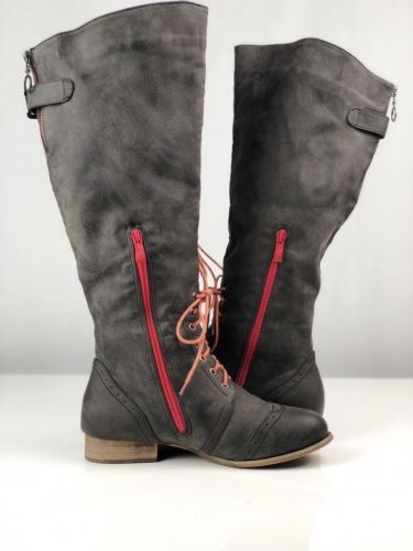 DNDK Knee High Leather Boots Women's Size 7 Wingtip Zip Up