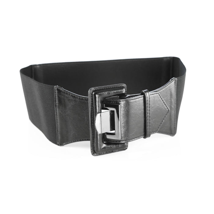 Black Leather Women's Wide Style Elastic Belt