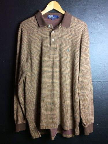 Polo Ralph Lauren Pullover Polo Shirt Brown Houndstooth XL