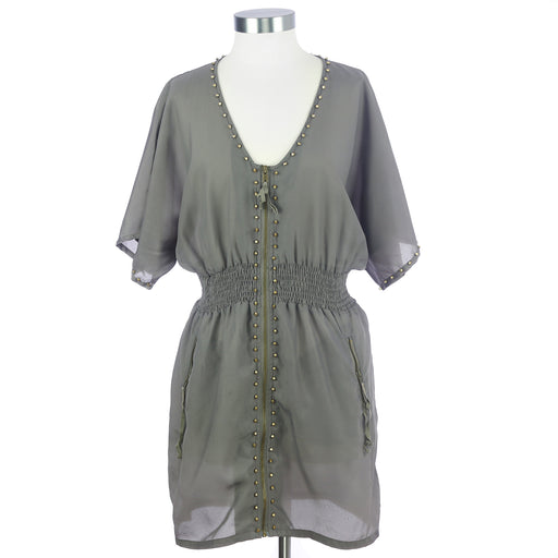 Wilster Women's Medium Grey Dress with Gold Color Accents
