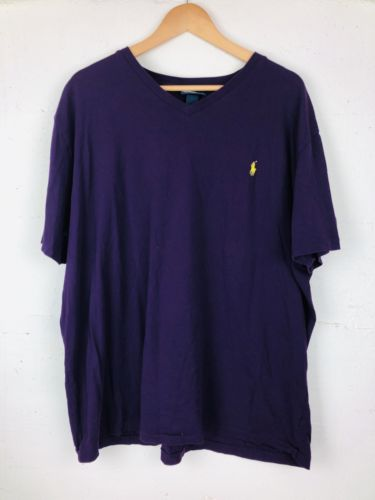 Polo Ralph Lauren V-Neck T-Shirt Size XXL. Valley Purple w/ Yellow Pony.