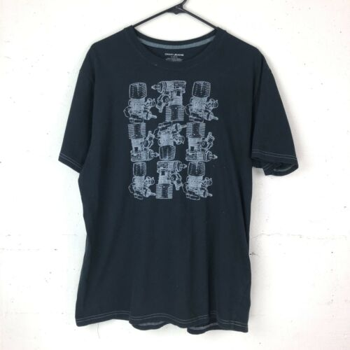 DKNY Jeans Mens XL Black Engines Graphic T Shirt
