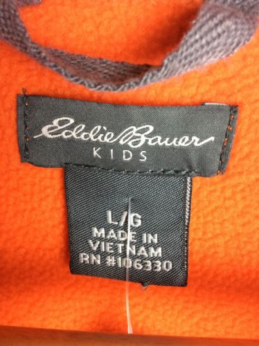 Eddie Bauer Kids Large Bright Orange Fleece Quarter Zip Pullover