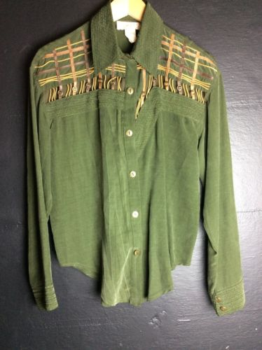 Cache Blouse Small Green With Leather Detail - Six 3 Shop