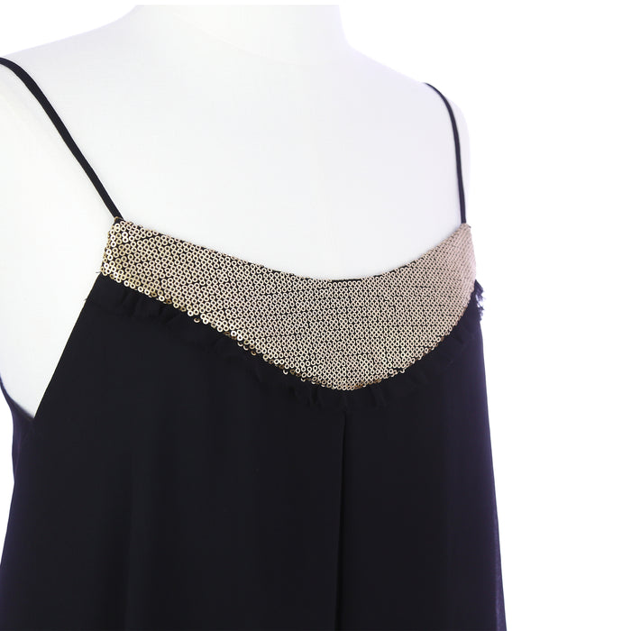 Express Women's Small Sheer Black and Gold Sequin Tank Top - Six 3 Shop