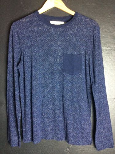 H&M Long Sleeve Pocket Tee Blue Small