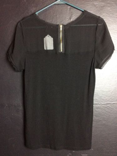 H&M Blouse With Sheer Neckline And Sleeves Black Medium