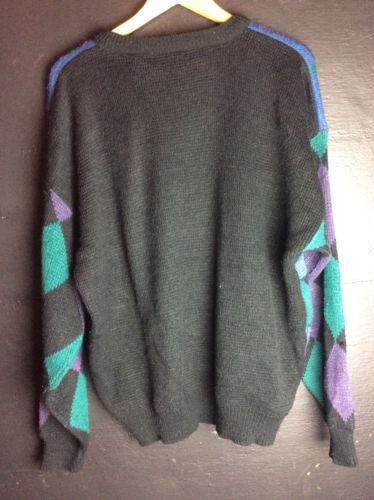 Street Scenes Geometric Pattern Vintage Sweater XL
