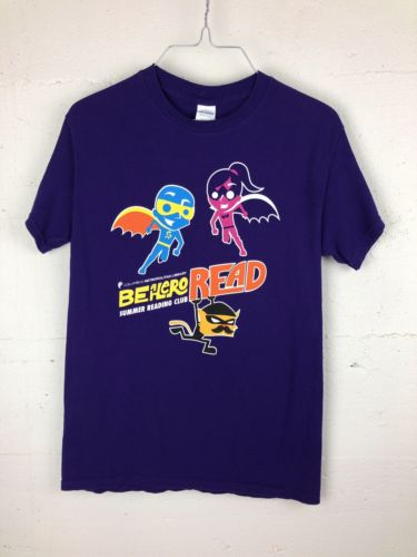 Be A Hero Read Library Unisex Small Purple T Shirt Gildan