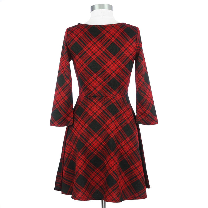 Derek Heart Small Red and Black Plaid Dress