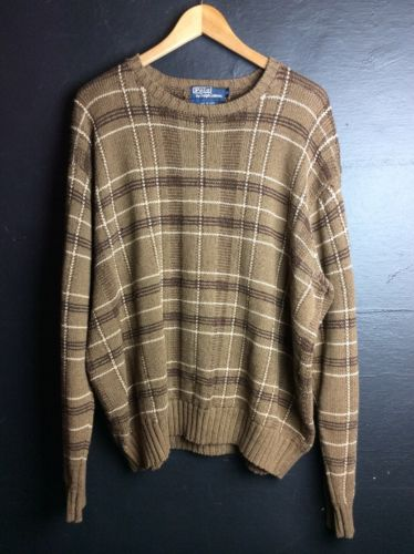 Polo Ralph Lauren Mens Knit Pullover Sweater Brown Plaid XL