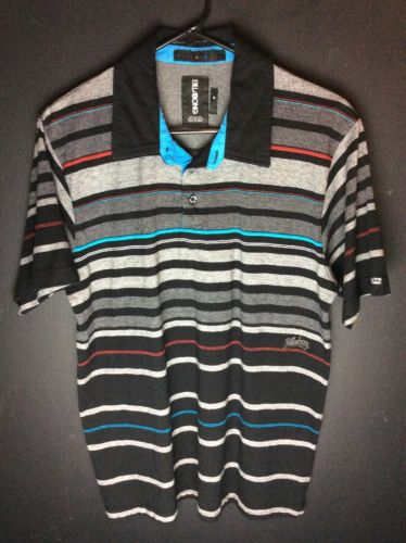 Billabong Mens Striped Polo Shirt Black Medium