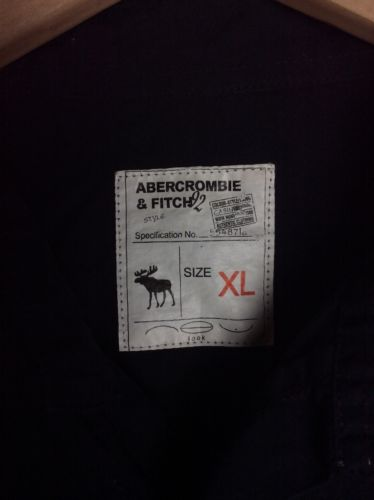 Abercrombie Fitch Mens Button Front Casual Shirt Black XL