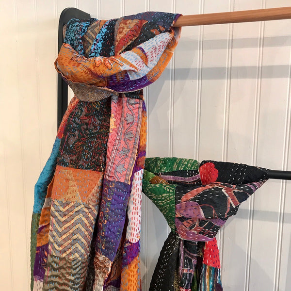 Indian Hand Embroidered Silk Patchwork Quilts