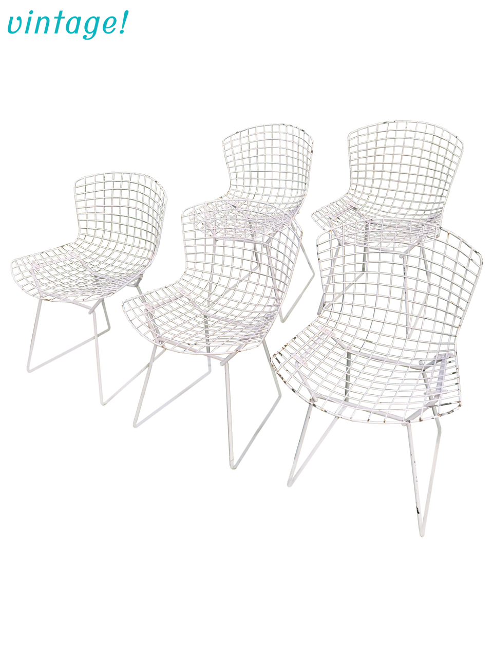 Vintage Harry Bertoia Knoll White Wire Chairs - Set of 5 - touchGOODS