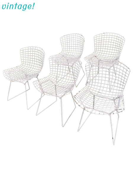 Vintage Harry Bertoia Knoll White Wire Chairs - Set of 5 | touchGOODS