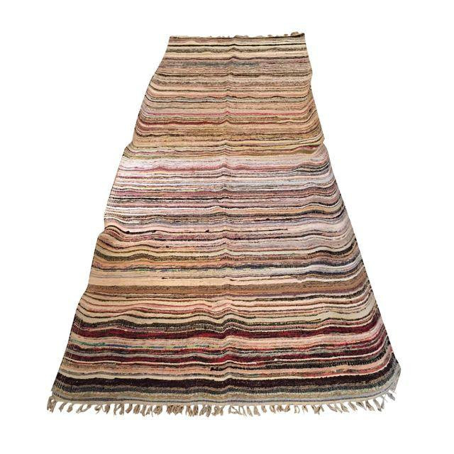 "Striped Turkish Rag Rug Runner 10'3"" X 3'2"" 