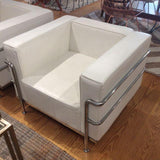 Le Corbusier LC3 Style White Leather Arm Chair - touchGOODS