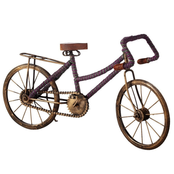 Bicycle with Green & Purple Stripe Jute Wrap - touchGOODS