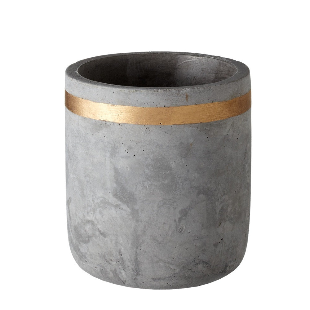 "Tall Cement Planter with Gold Stripe 5 1/2""h 