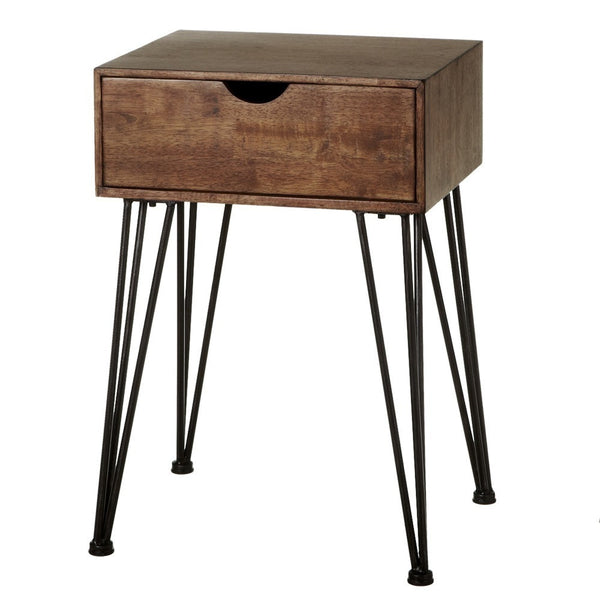 One Drawer Side Table With Iron Hairpin Legs - touchGOODS
