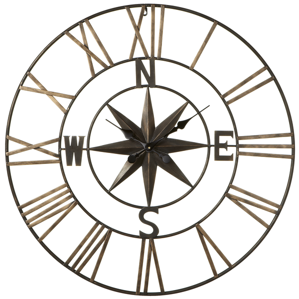 Compass Star Roman Numeral Wall Clock - touchGOODS