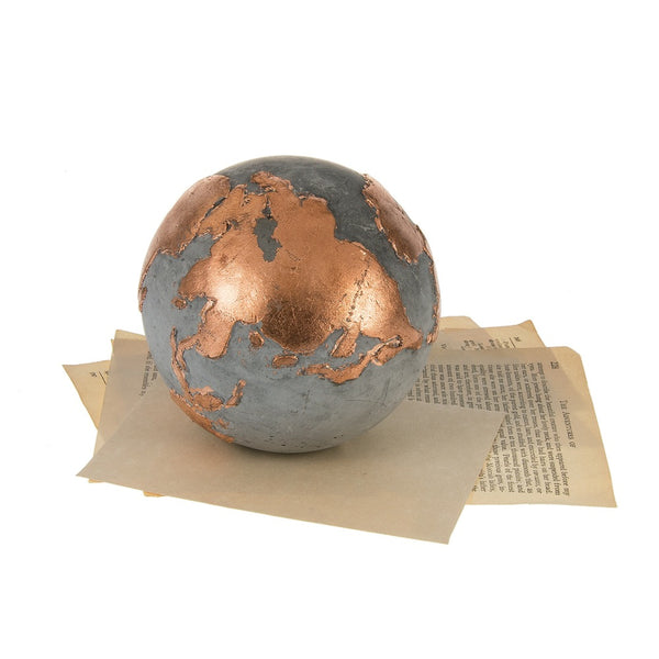 Cement and Copper Leaf Globe Paperweight - touchGOODS