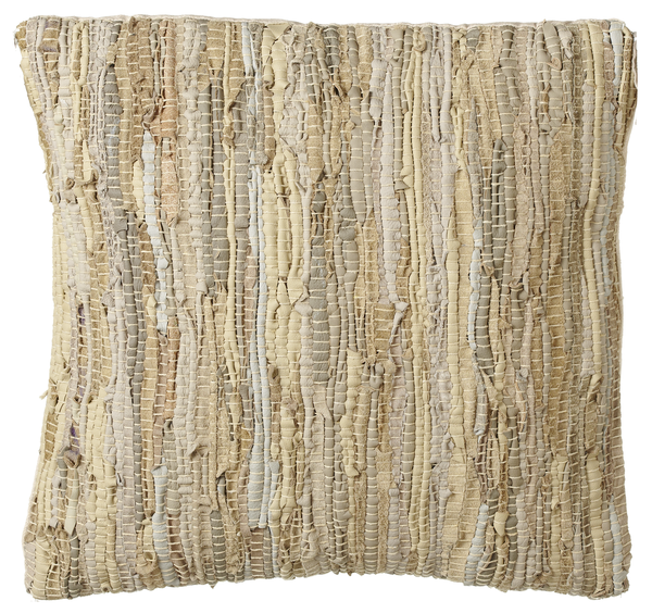 Beige Woven Leather Chindi Pillow | touchGOODS
