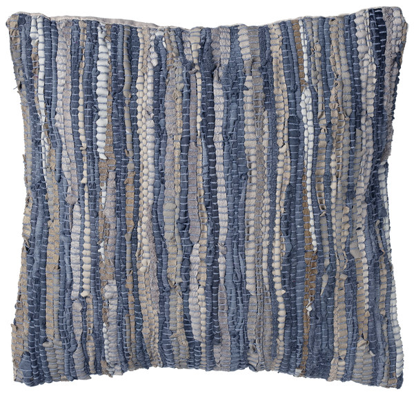 Blue & Beige Woven Leather Chindi Pillow | touchGOODS