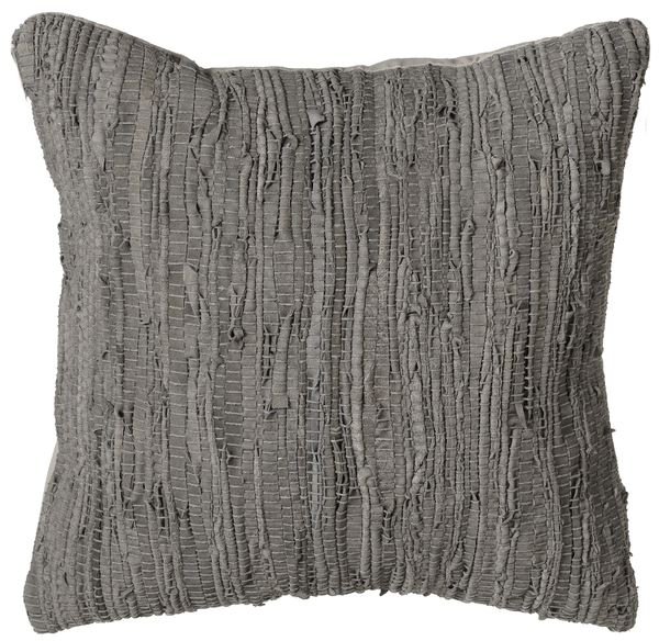 Grey Woven Leather Chindi Pillow