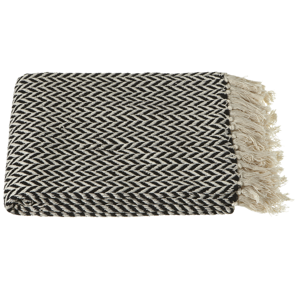 Black & Cream Arrow Stripe Cotton Throw | touchGOODS