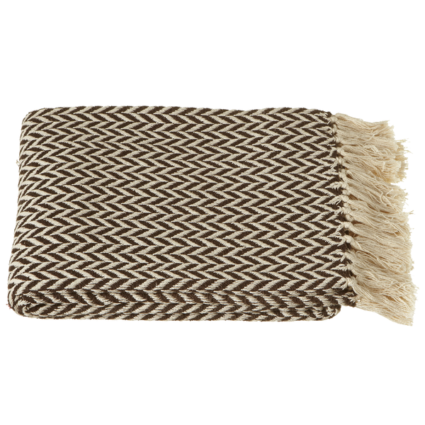 Chocolate & Cream Arrow Stripe Cotton Throw | touchGOODS