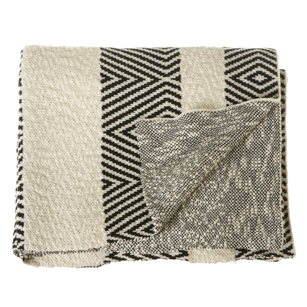 Black & White Diamond Cotton Knit Throw | touchGOODS