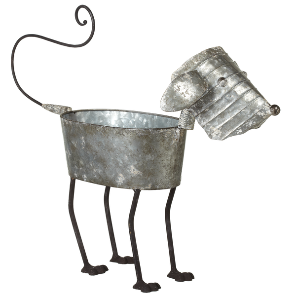 Distressed Galvanized Metal Dog Planter - touchGOODS