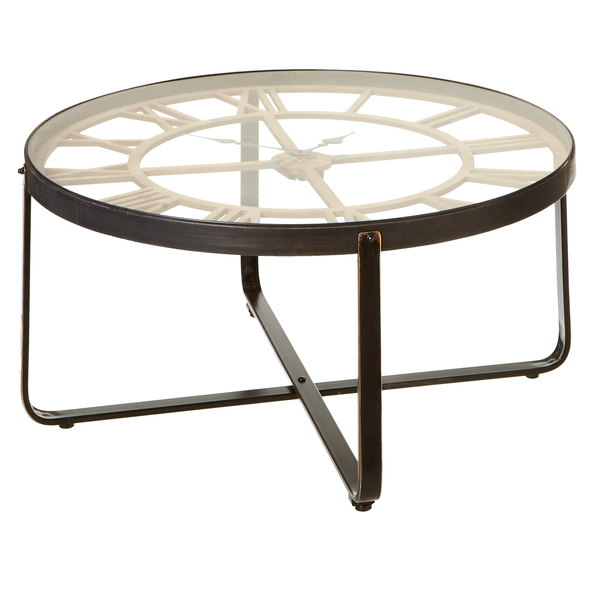 Clock Coffee Table with Tempered Glass | touchGOODS