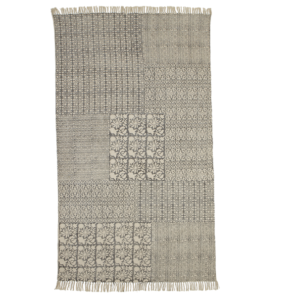 Block Print Grey & Beige Geometric & Floral 5' x 8' Rug - touchGOODS
