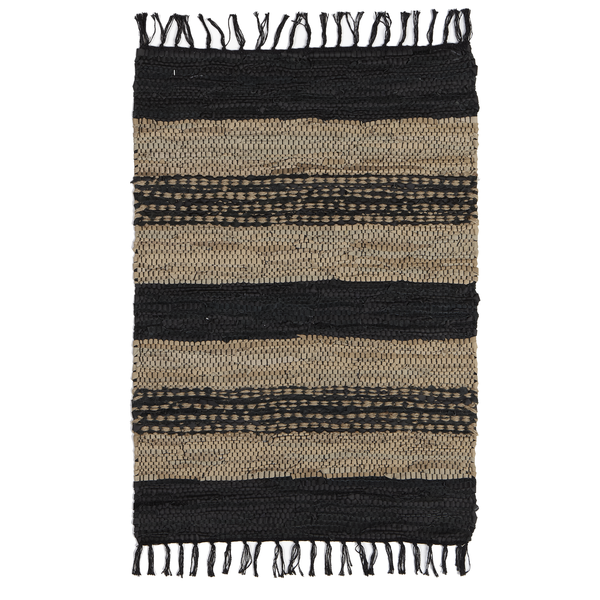 Black, Brown & Beige Stripe Recycled Leather Chindi Rug 2 x 3 - touchGOODS
