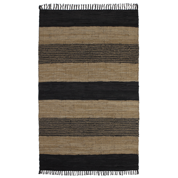 Black, Brown & Beige Stripe Recycled Leather Chindi Rug 5 x 8 | touchGOODS
