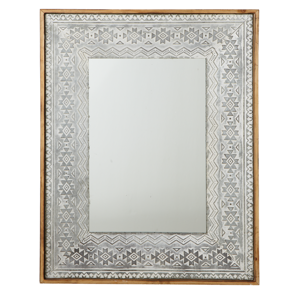 Washed Galvanized Embossed Tribal Framed Wall Mirror | touchGOODS