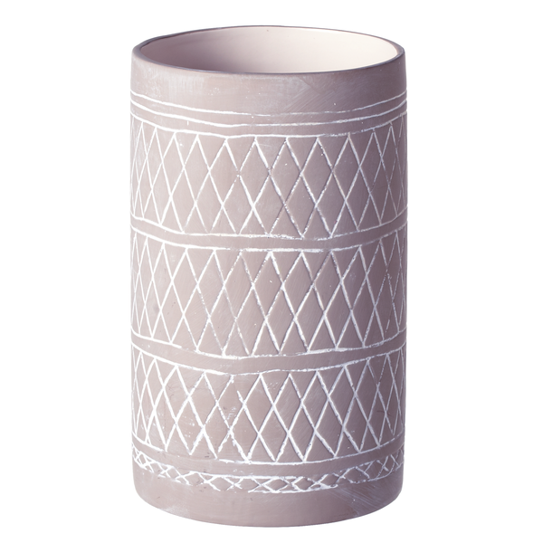 Large Grey & White Rustic Tribal Pattern Vase | touchGOODS